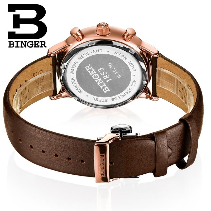 BINGER deporte reloj de cuarzo relojes para hombre marca de lujo cronógrafo de cuarzo de cuero de oro rosa reloj Relogio - 3
