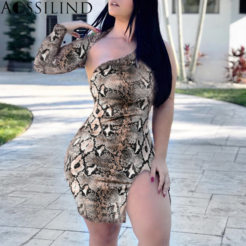 ae4b520307 AOSSILIND Snakeskin print one shoulder sexy mini dress 2019 spring summer  women backless long sleeve club