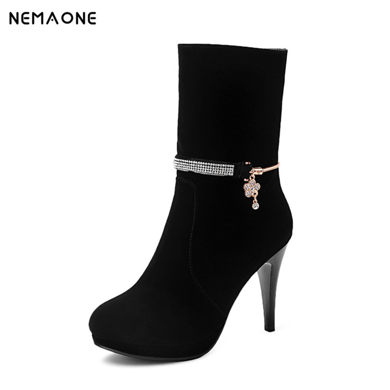 NEMAONE Women Ankle Boots High Heels 2017 Fashion wedding Shoes Woman Platform Flock Winter Boots Ladies Shoes Female Botas shots toys bottom line butt plug model 4 10 см черная анальная пробка