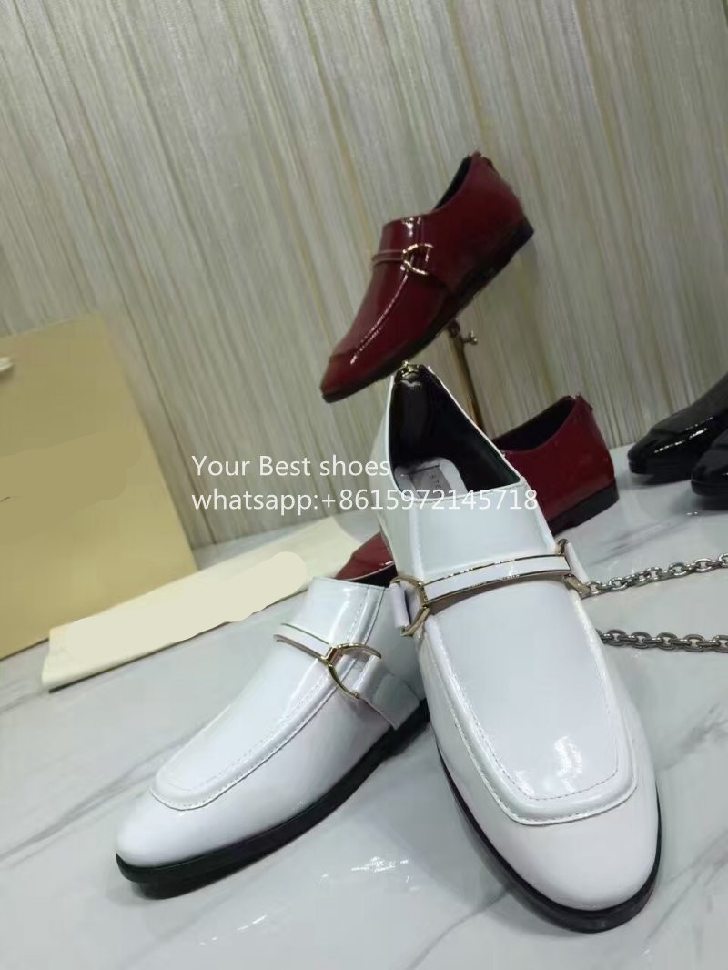 Black Patent Buckle Loafers Round moc toe shoes Gold tone accent hardware 2016SS fashion font b