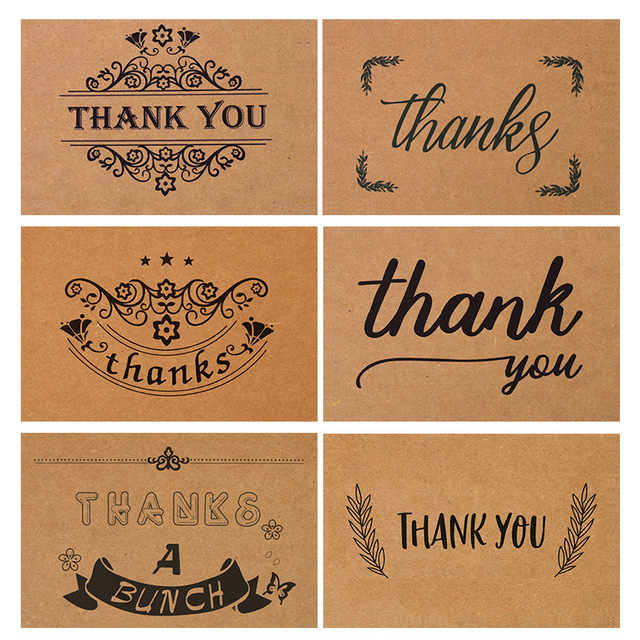 60pcs lot vintage kraft paper thank you cards 6 wreath designs with