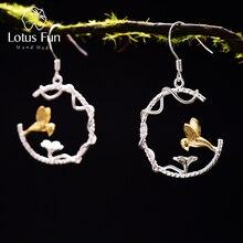 Unique! Creative Original Design Handmade Jewelry. Lovely Bird Dangle Earrings.Genuine 925 Sterling Silver. Oiseau bijoux. joyas