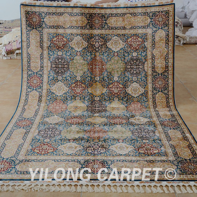 Yilong 5 X8 Antique Handmade Silk Carpet Hand Knotted Persian Rug Patterns 1677