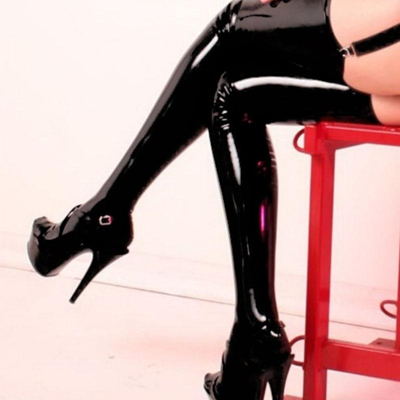 Leechee J084 Kvinnor Sexiga Underkläder Latex Strumpor Pu Läder - Nya föremål