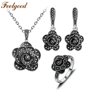 Feelgood Antique Silver Color Vintage Jewellery Black Crystal Flower Pendant Necklace Set Jewelry Sets For Women Birthday Gift