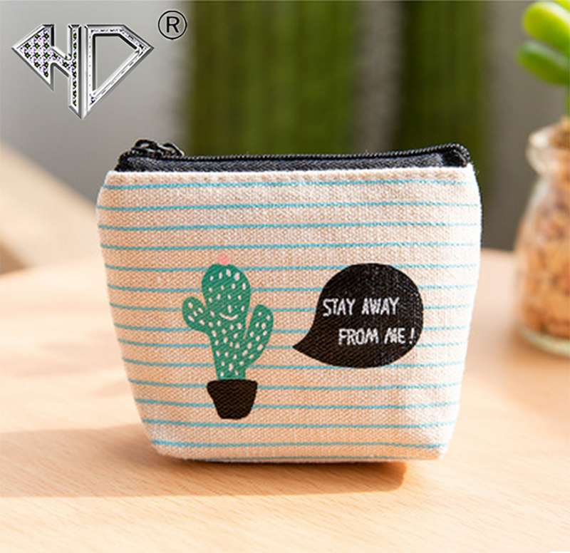 купить HD Mini Cactus Printed Women Girls Cute Snacks Coin Purse Wallet Bag Canvas Small Ladies Change Pouch Key Holder Zipper Purses недорого