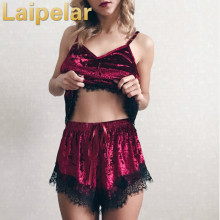 Laipelar Women Sexy Velvet Tracksuits Eyelash Lace Cami Top With Shorts Set 2018 Casual Sleeveless Vintage Two Piece