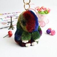 Rex Królik Futra Futra bunny Brelok Breloczek multicolor Pompom Bag Charms Wisiorek Samochodów Key Torebka Breloki Breloki