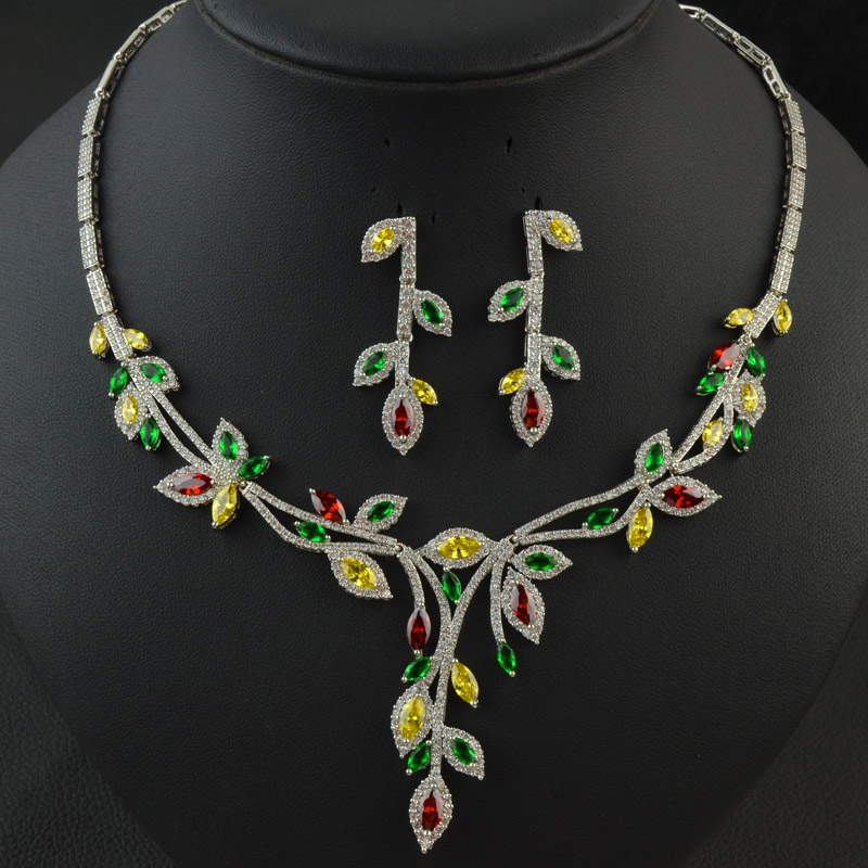 New design colorful multicolor wedding bridal party jewelry set for women high quality zircon necklace earring