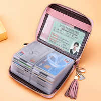 Pink Women Credit ID Card Holder Case Extendable Business Bank Cards Bag Wallet Coin Purse Carteira Mujer Tarjetero