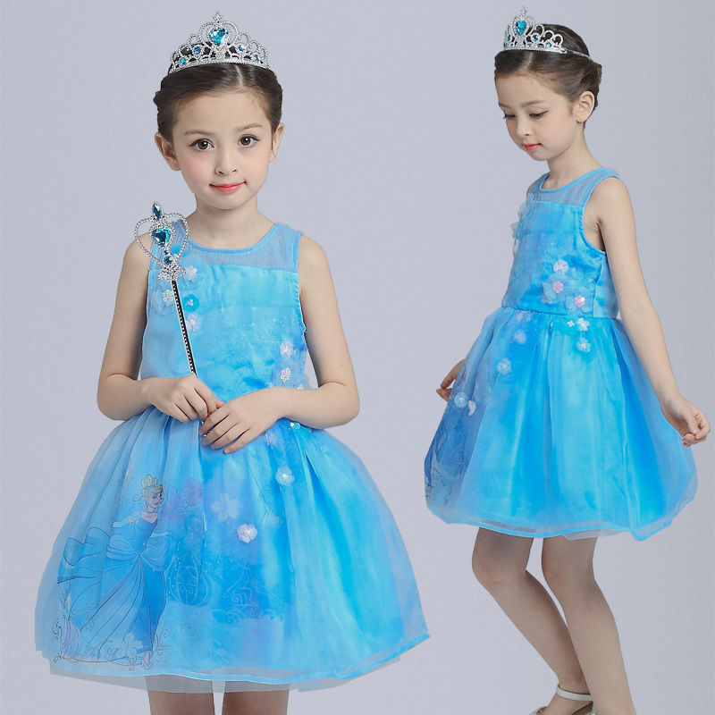 S1470 Wholesale 2017 New Kids Summer Cinderella Princess Dress Girls Dress Wedding Flower Girl Dress