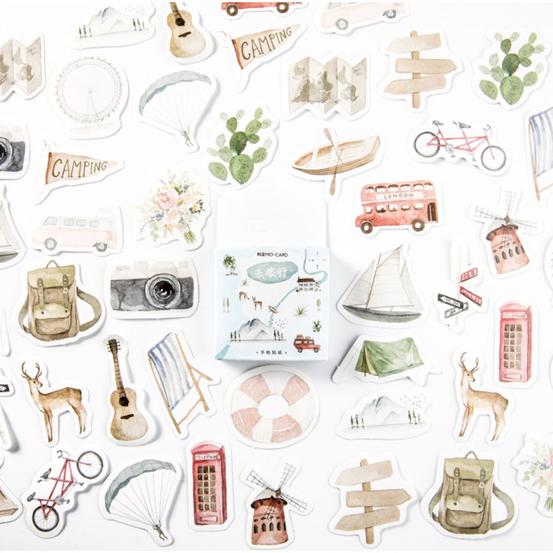 45Pcs//Pack Famous Artist Mini Sticker Diy Scrapbooking Sticker Stationery Dec I2