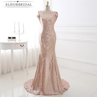 Gold Sequins Bridesmaid Dresses Mermaid 2017 Open Back Robe Demoiselle D Honneur Cap Sleeve Maid Of