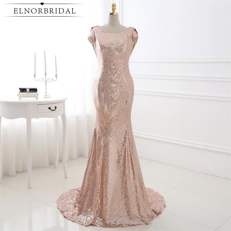 Gold Sequins   Bridesmaid     Dresses   Mermaid 2019 Open Back Robe Demoiselle D'honneur Cap Sleeve Maid Of Honor   Dress