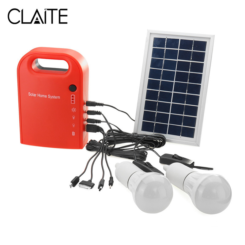 цена на CLAITE Portable Solar Light 2 LED Lamp USB Cable Battery Charger Emergency Lighting System Large Capacity Solar Power Bank Panel