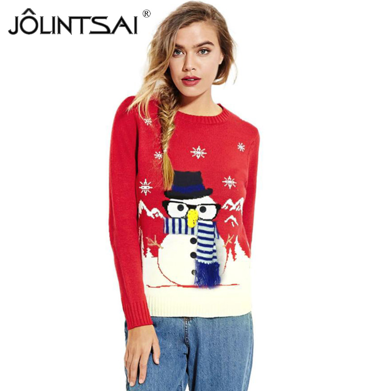 JOLINTSAI Women Christmas Sweater Snowman Christmas Tree Knitted Women Sweaters And Pullovers Round Neck Female Warm Tops