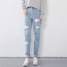 6d55864e04f 2018 New College Wind Print Jeans Women Harajuku Cotton Hole Curling Pants  Pants Sweet Cute Loose Jeans 2526#