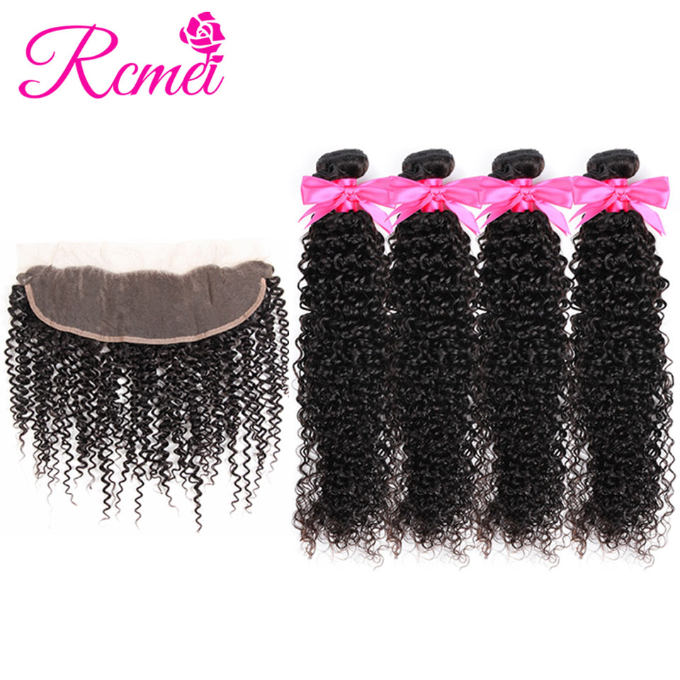 Brazilian Kinky Curly Hair Bundles With Frontal Closure Ear To Ear Lace Closure With 4 Bundles Curly Hair Non Remy Afro Weaving
