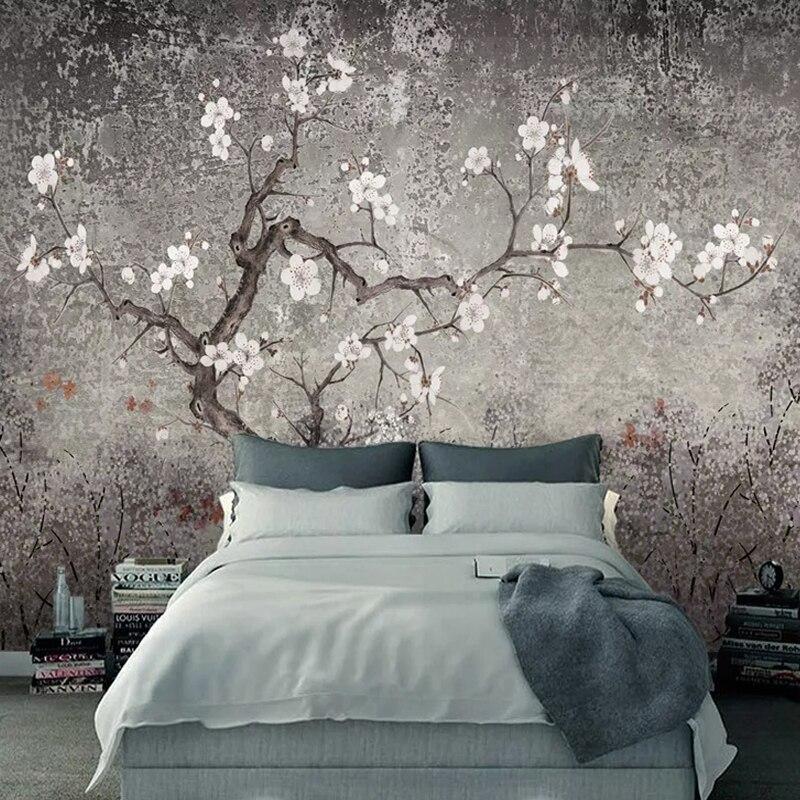 Custom Photo Wallpaper Retro Plum Blossom Murals Chinese Style Hand Painted Flowers Birds Wall Painting Living Room Study Fresco