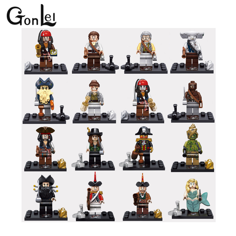 GonLeI 16pcs Pirates of the Caribbean Captain Jack Sparrow Building Blocks children Brick toy Kid Gift Compatible lepin loz pirates of the caribbean jack salazar mini blocks brick heads figure toy assemblage toys offical authorized distributer