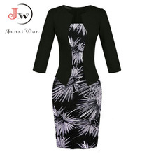 Women One Piece Office Dress Lady Fashion Elegant Faux Jacket Bodycon Sheath Patchwork Tunic Knee Length Work Pencil Dresses