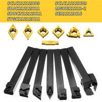 12mm 7pcs Set of CNC Lathe Turning Tool Holder Boring Bar With DCMT TCMT CCMT Cutting Insert with Wrench