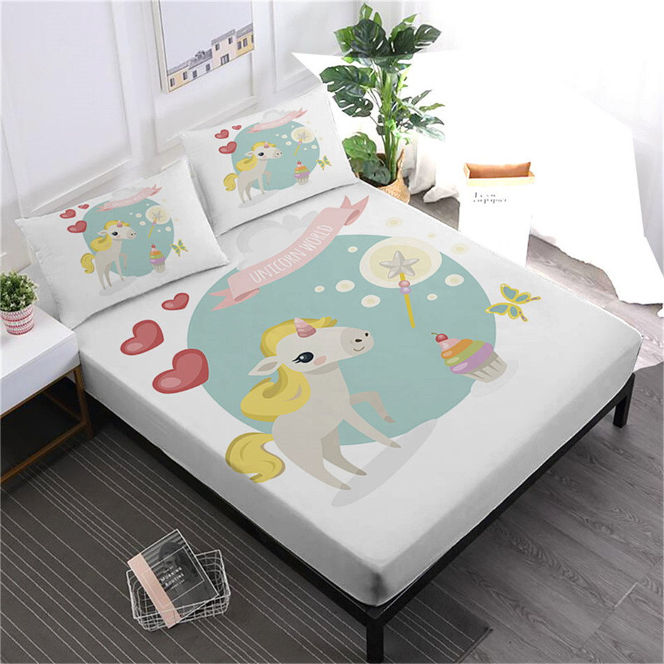 Child Cartoon Bed Sheets Set Lovely Unicorn Print Bed Linens Twin Full King Queen Fitted Sheet Soft Flat Sheet Pillowcase 4pcsChild Cartoon Bed Sheets Set Lovely Unicorn Print Bed Linens Twin Full King Queen Fitted Sheet Soft Flat Sheet Pillowcase 4pcs