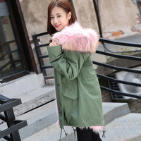 2017 Korea Fashion Women S Winter Genuine Natural Real Raccoon Dog Fur Coat With Thick Warm