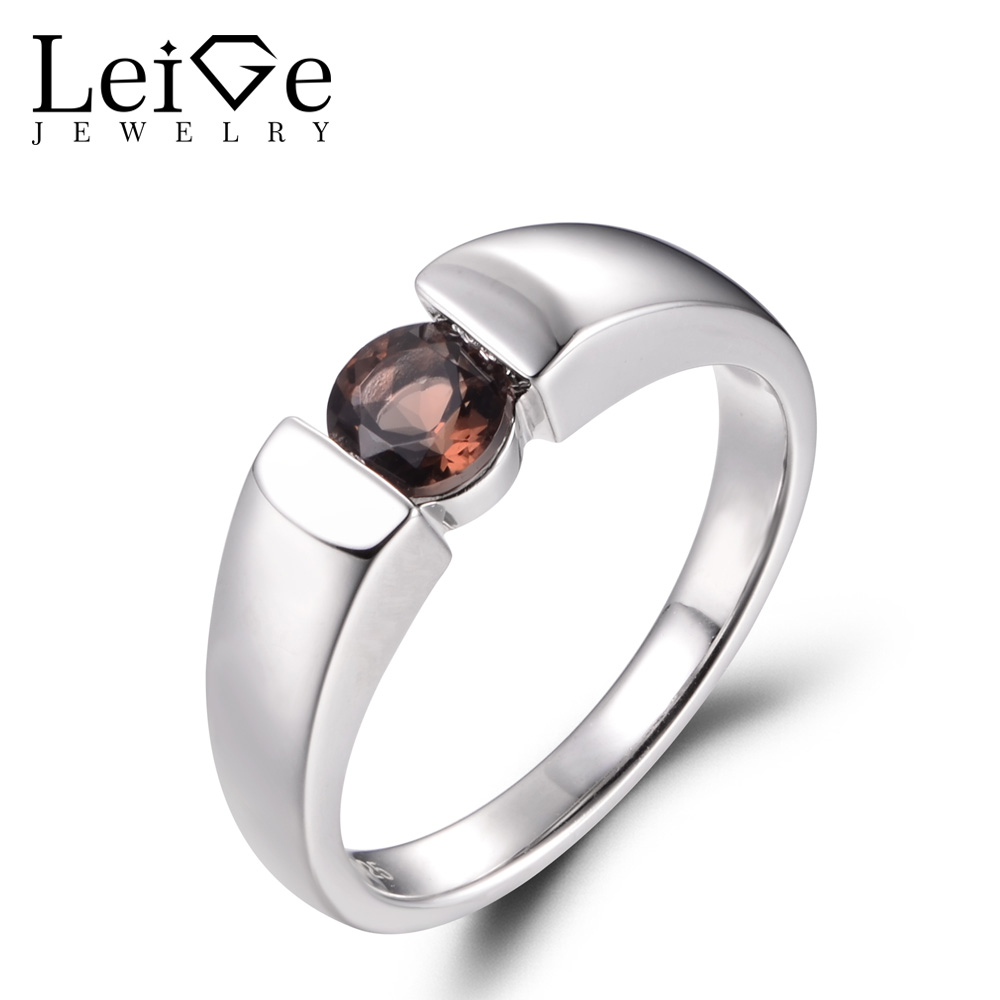 LeiGe Jewelry Natural Smoky Quartz Rings Cocktail Party Rings Round Shape Brown Gemstone Ring 925 Sterling Silver Solitaire Ring цена
