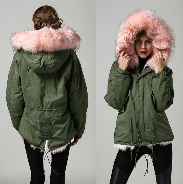 fashion pink big real fox fur collar warm winter parka, real fox ...