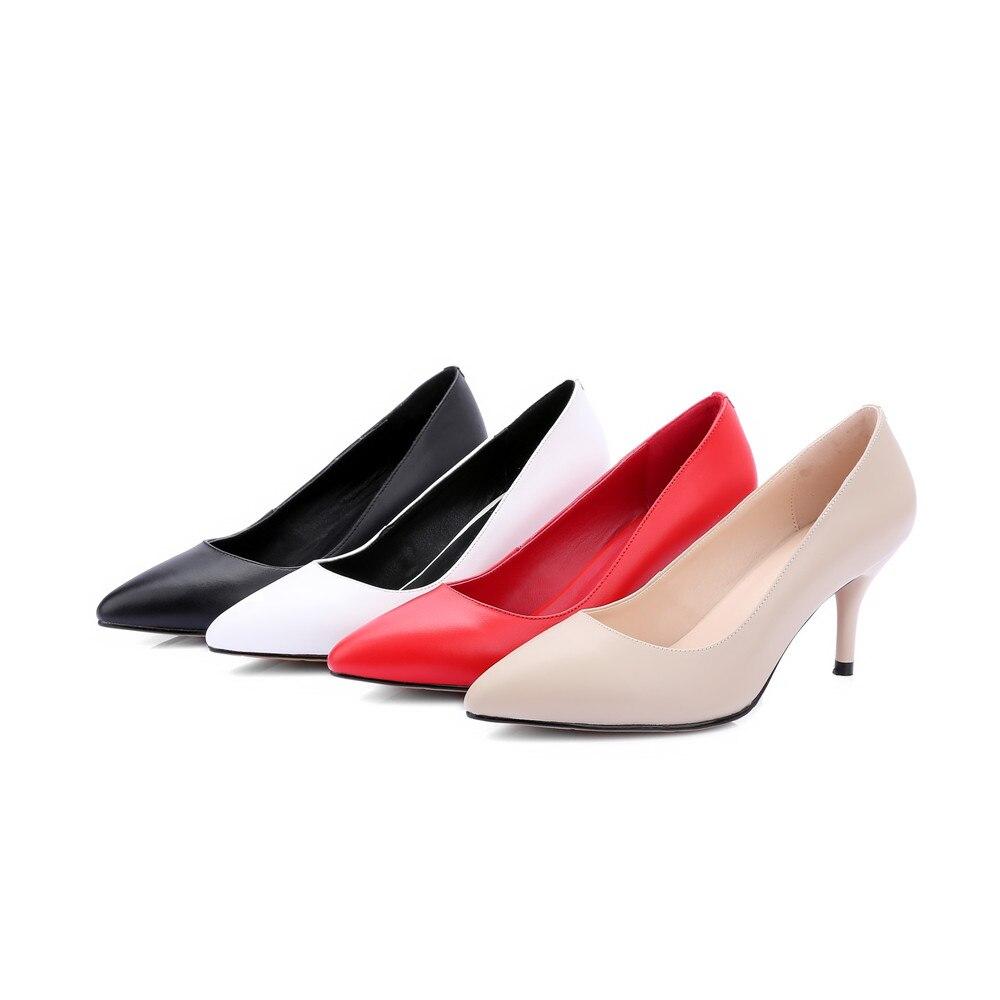Automne Printemps Blanc Rouge Talon Femmes Apricot Pointu Hauts blanc rouge Chaussures Véritable Bout En noir Cuir 2018 Noir Mince Pompes Talons Asumer Mariage De Zq5E6E