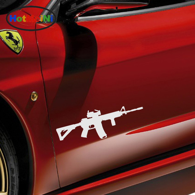 Hotmeini machine gun mp5 assault rifle styling car sticker for truck bumper army shop laptop motorcycle