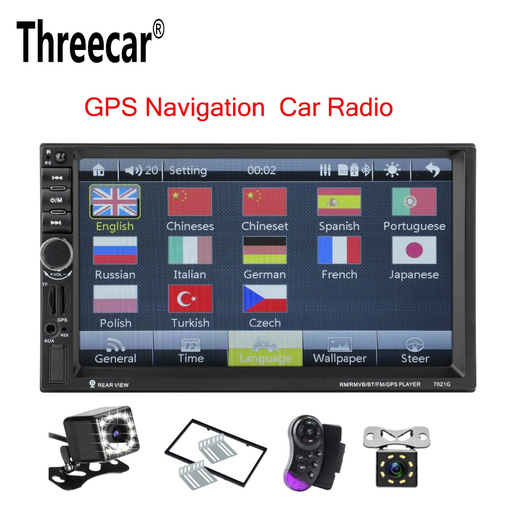Threecar 2 Din GPS Navigation MP5 Car Player 7'HD Bluetooth Stereo Radio Mirror Link Audio USB Auto Electronics Autoradio 7021G