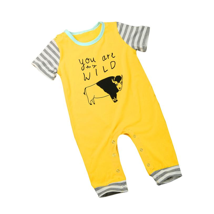 Summer boy cartoon cow striped baby rompers Cute Toddler Kid Baby Boy Clothes Cotton Short Sleeve Romper Jumpsuit bebes maio