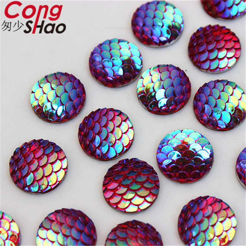 Cong Shao 200Pcs 12mm AB Colorful Round flatback Fish scales stones and crystals  Resin Rhinestone trim costume Button CS623-in Rhinestones from Home ... 7264864e5959