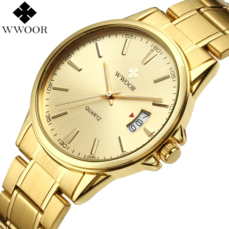 WWOOR Brand Men Waterproof Gold Watches Luxury Stainless Steel Date Clock Business Watch Men Sports Wristwatch Relogio Masculino