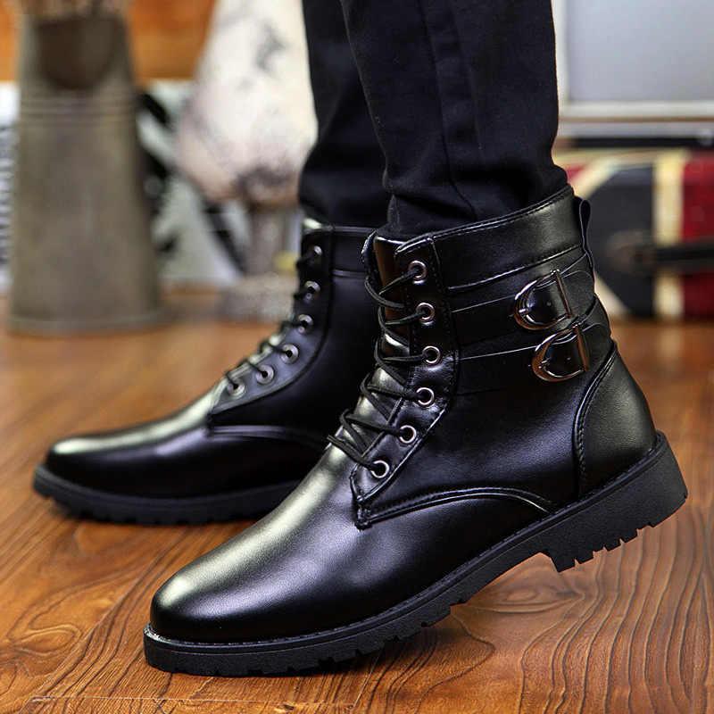 9c7f2e2239ba Фирменная Новинка Мужская обувь на весну и зиму Мужские ботинки модная  ременная пряжка мужской обуви High