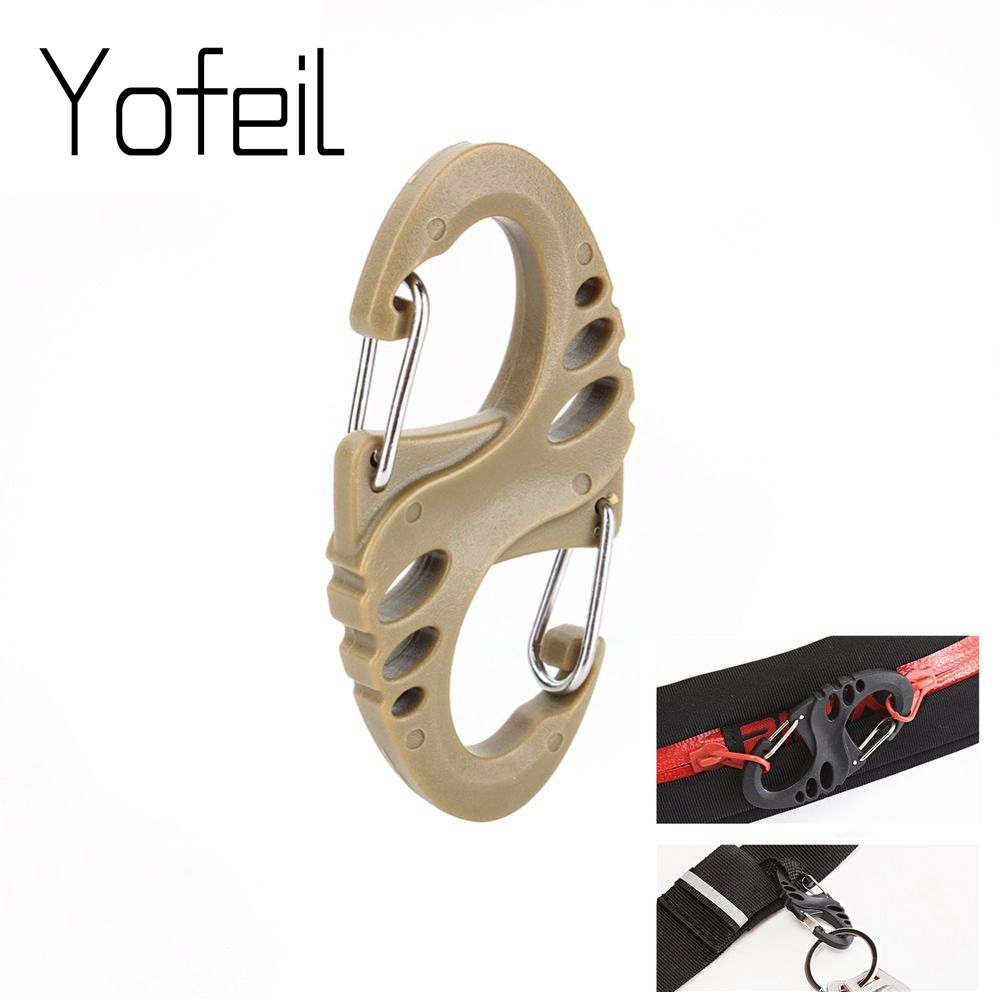 10Pcs/Lot S Type Backpack Clasps Climbing Carabiners EDC Keychain Camping Bottle Hooks Paracord Tactical Survival Gear Buckles