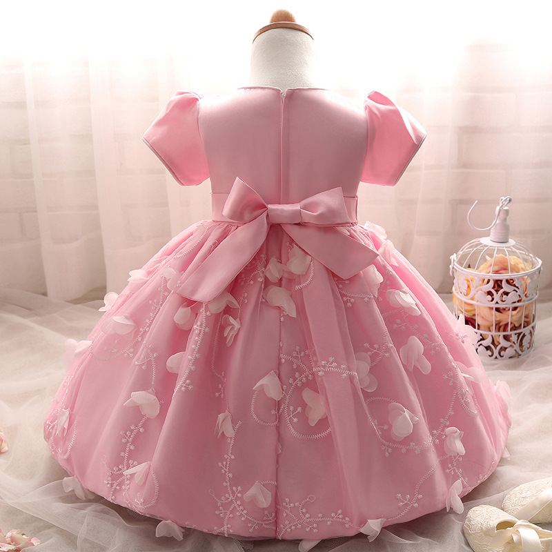 3 6 12 18Months Evening Wedding Short Beaded Clothes First Communion Lace  White Pink Yellow First Birthday Girl Party Wear Dress-in Dresses from  Mother ... 596e143bcbb5