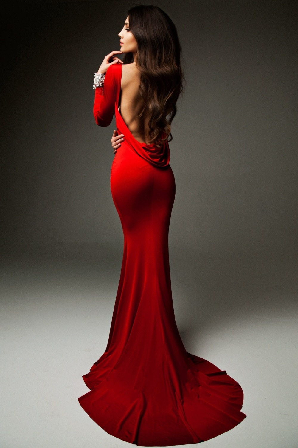 Robe de soiree O Neck Sexy Red Elegant Backless Evening Gowns ...