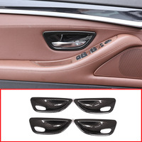 4pcs Carbon fiber Style ABS Interior Door Bowl Cover Trim For BMW 5 Series F10 520 525 2011 2016 Year model