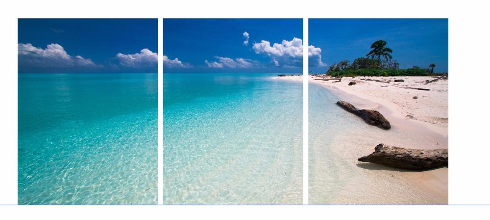 3 panels canvas prints wall art landscape blue sky beach cuadros decoration room wall paintings framed