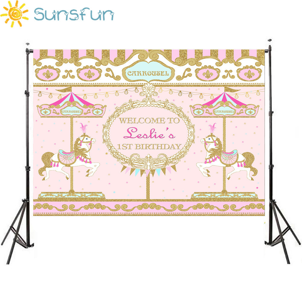 US $6 07 10% OFF|Sunsfun 7x5FT Colorful Pink and Golden Carousel Birthday  Girls Background Photo Studio Camera Fotografica Baby Shower 220x150cm-in