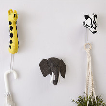 INS Nordic Wool Felt Animal Head Hook Baby Clothes Hanger Kids Room Decorations Wall Hanging Ornaments Gifts Toys Photo Props