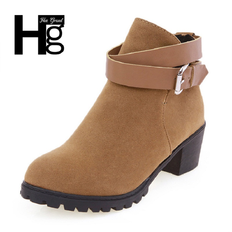 HEE GRAND Winter Fashion Women Boots Thick Heel Platform Shoes Buckle Autumn Boots For Women Ladies Riding Ankle Boots XWX627 цены онлайн