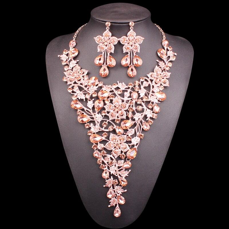 Ensembles de bijoux de mariée élégant grande fleur cristal déclaration collier boucles d'oreilles ensembles indien mariage Costume bijoux cadeaux pour les femmes