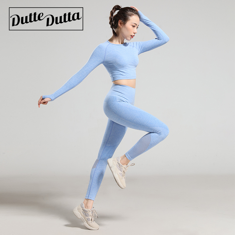 Womens Workout Clothing Breathable Gym Woman Fitness Sets Stretch Sport Suit Women Long Sleeve Sport T