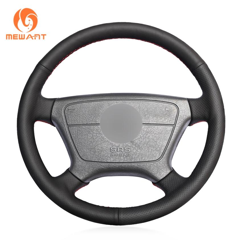 Black Genuine Leather Car Steering Wheel Cover for Mercedes Benz E-Class W210 E 200 240 280 320 1995-2002 W140 S320 350 420 1991 цена