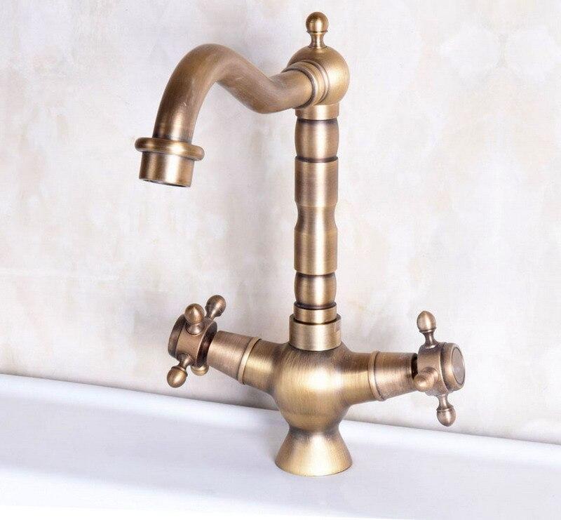 Vintage Retro Antique Brass Dual Cross Handles Bathroom Kitchen Basin Sink Faucet Mixer Tap Swivel Spout Deck Mounted Mnf247