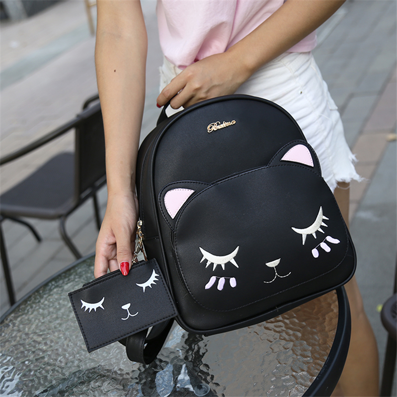 21club brand women black cat rucksack cute shoulder composite bag hotsale lady purse shopping bags preppy style student packpack 5